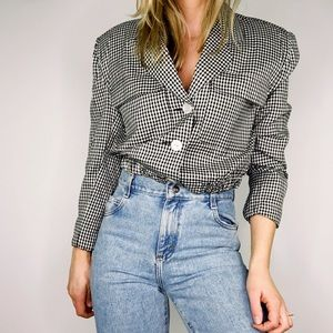 VINTAGE | Black White Gingham Crop Jacket M Y7